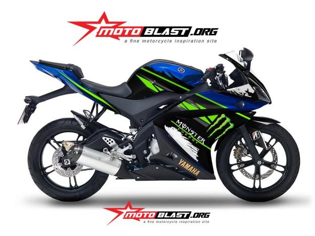 yamaha R125 - BLUE monster energy