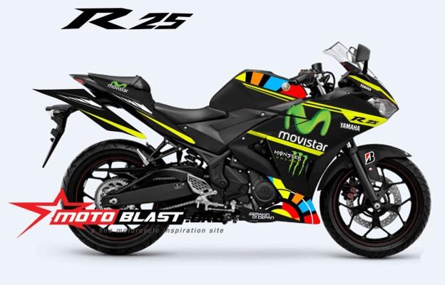 YAMAHA-R25-MONSTER-BLACK-ROSSI VR 46
