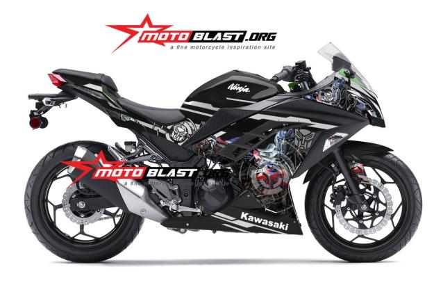 ninja 250 FI green transformer -optimus prime-BLACK2
