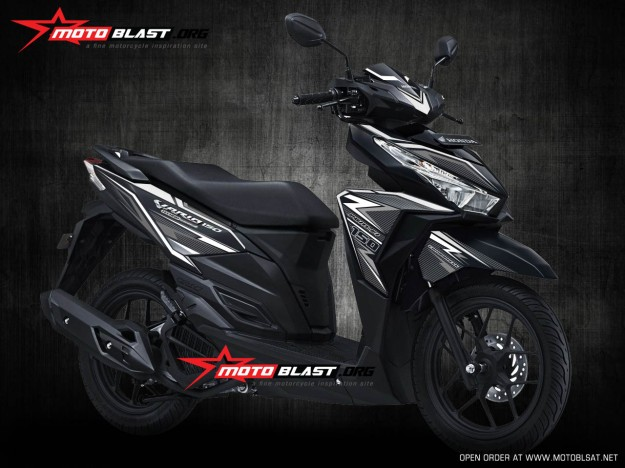 modifikasi stiker motor honda VARIO 150 BLACK white carbon