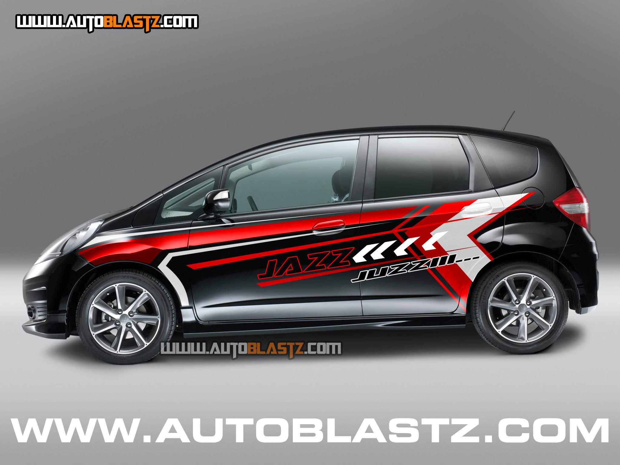 CAR SERIES Modifikasi Honda Jazz Black Stiker Desain Sporty Jazz