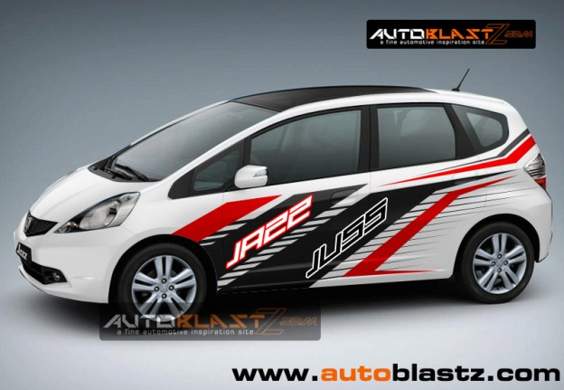 Car series modifikasi striping mobil jazz white joss gandoss